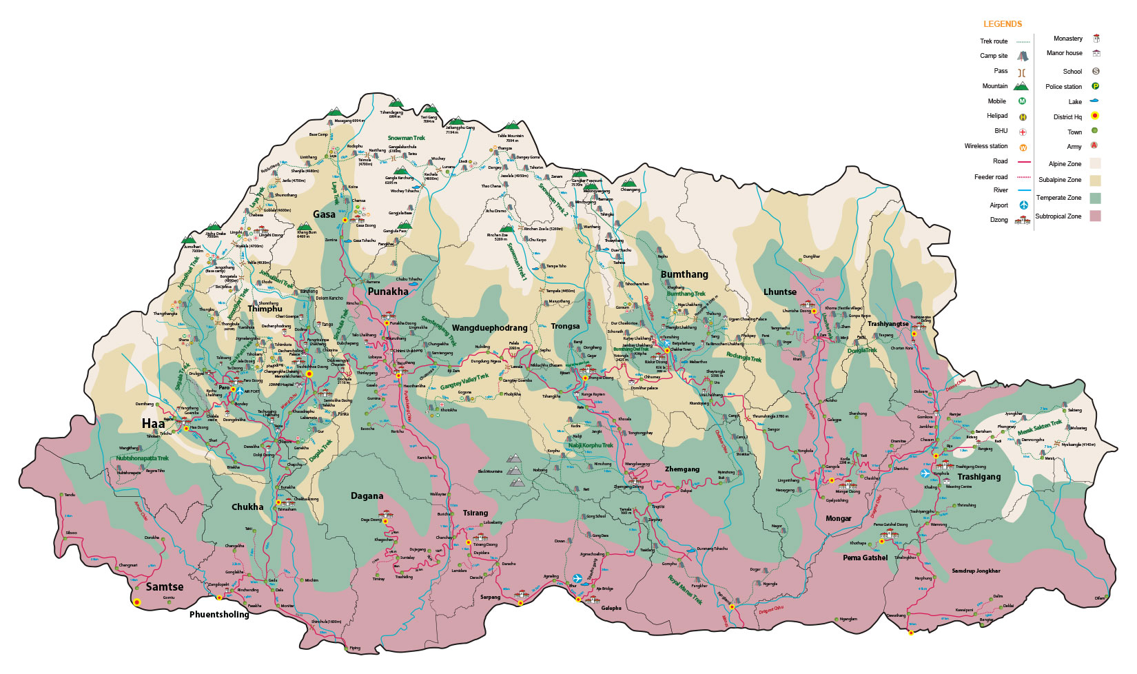 Bhutan Far East Bhutan Footprints Travel - Map of bhutan with districts